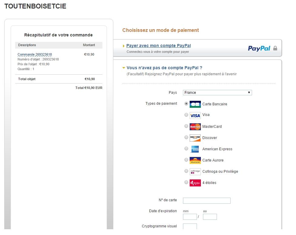 paiement via paypal sans ouverture de compte paypal, toutenboisetcie